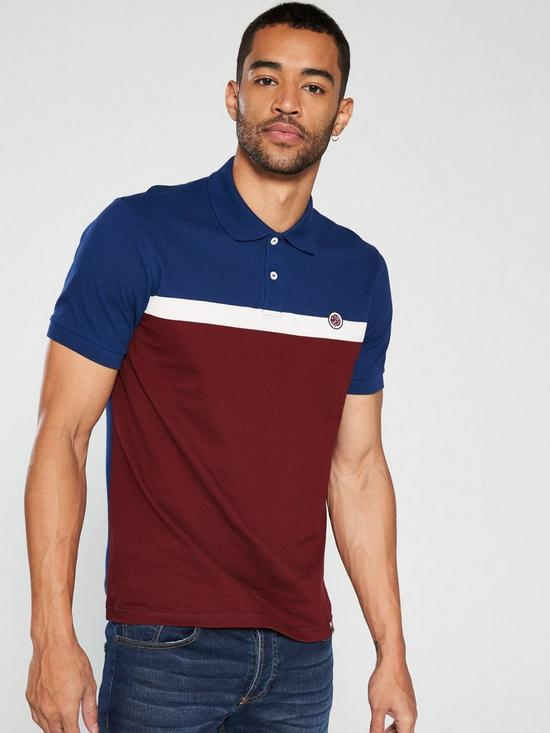 c0764c93 Pretty Green Front Colour Block Polo Shirt - Red/Blue | very.co.uk