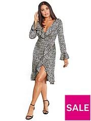 f0e2e9217a0d48 Sistaglam Loves Jessica Sistaglam Loves Jessica Wright Animal Print Midi  Wrap Dress