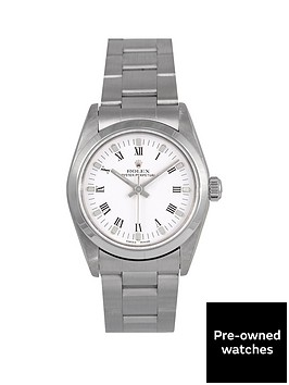 rolex-rolex-pre-owned-white-arabic-oyster-perpetual-dial-stainless-steel-bracelet-midsize-watch-ref-77080