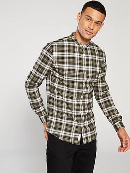 river-island-khaki-check-grandad-collar-shirt