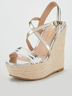 7afc7ef24e5 Miss KG Miss Kg Demi Metallic Stripe Wedge Sandal