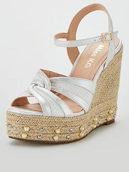 miss-kg-daninbspstuds-amp-pearl-wedge-sandal-silvernbsp