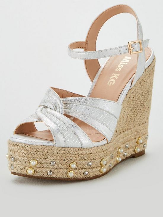 7f374f5eb5 Miss KG Dani Studs & Pearl Wedge Sandal - Silver   very.co.uk