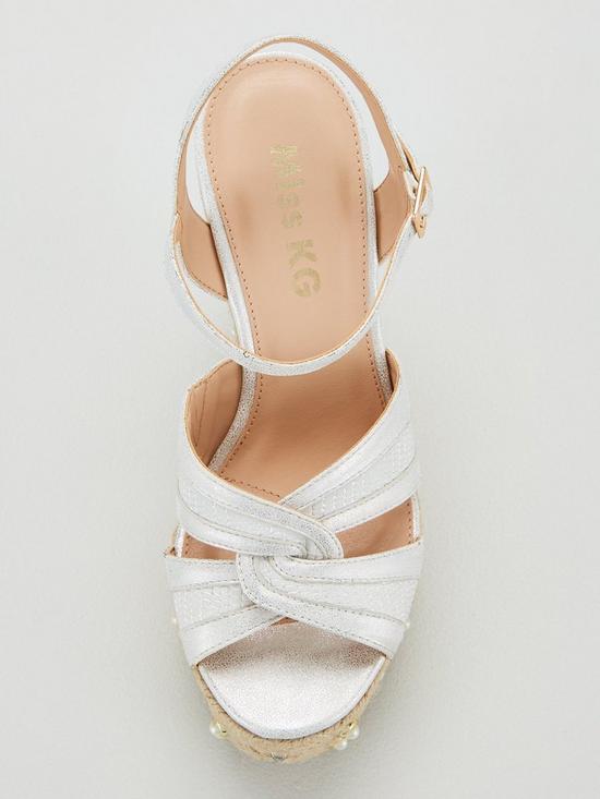 2c004d2d14 ... Miss KG Dani Studs & Pearl Wedge Sandal - Silver. View larger