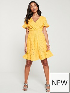 c7dfd29a374 V by Very Broderie Flippy Hem Dress - Yellow