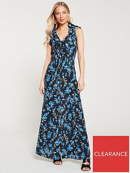 v-by-very-crepe-printednbspbuttonnbspthrough-maxi-dress-black