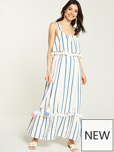 246da75849f V by Very Tie Waist Linen Maxi Dress - Stripe