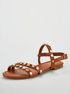 carvela-stud-flat-sandals-tan