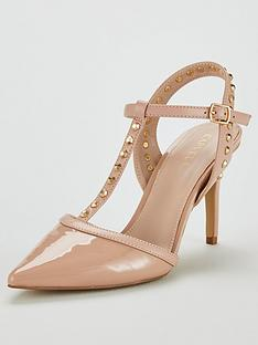 3661a6985be Carvela Stud T-Bar Court Heeled Sandals - Nude