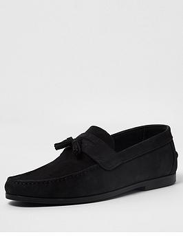 river-island-nubuck-tadley-loafers-black