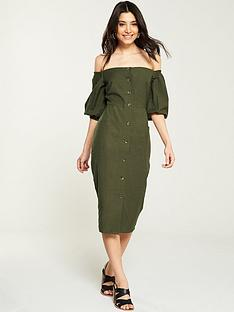 v-by-very-button-through-linen-dress-khaki