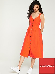 v-by-very-linen-midi-button-through-orange