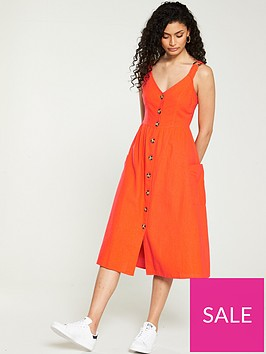 v-by-very-linen-midi-button-through-orange