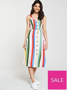v-by-very-linen-stripe-button-through-dress-print