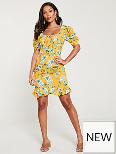 v-by-very-lace-up-front-crepe-tea-dress-yellowprint