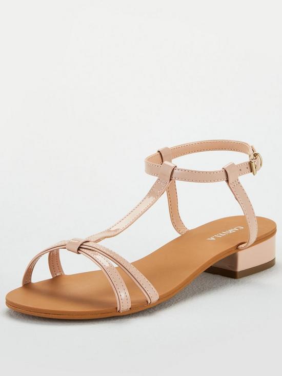 Carvela Simple H Bar Sandal Flat Sandals - Nude