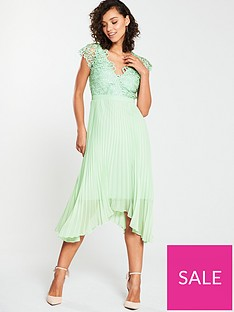 cffef28f98 V by Very Bridesmaid Lace Top Pleated Prom Dress - Waterlily