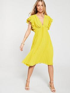 19aad0a2a42 V by Very Ruffle Sleeve Pleated Skirt Dress - Yellow