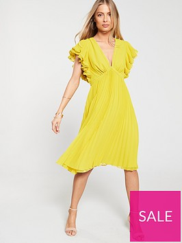 v-by-very-ruffle-sleeve-pleated-skirt-dress-yellow