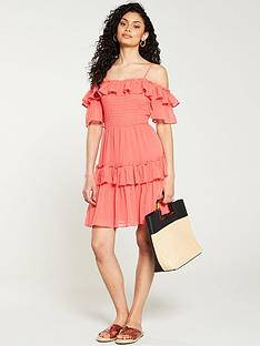 v-by-very-solid-bardot-mini-dress-coral