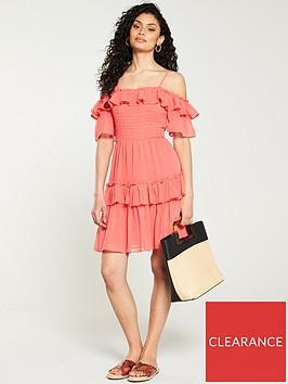 v-by-very-solid-bardot-mini-dress-coral