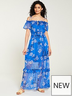 e962b540203 V by Very Cold Shoulder Tiered Midaxi Dress - Blue Floral