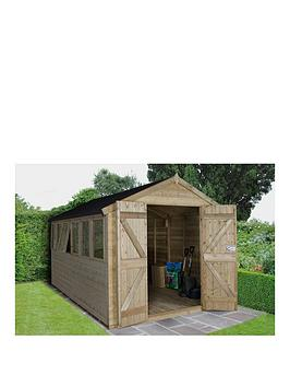 Product photograph showing Forest Forest 12 X 8 Apex Tongue Groove Pressure Treated Workshop Double Doors Assembly