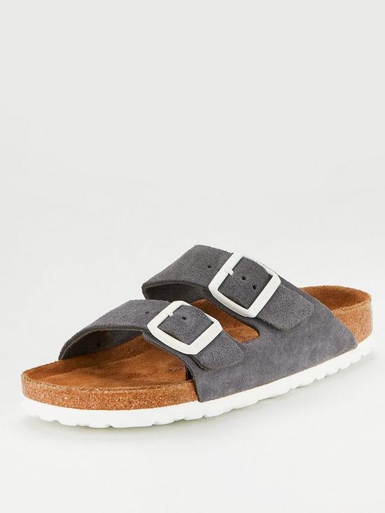 ff76bfdc6a222 Birkenstock Arizona Soft Footbed Flat Sandals - Gunmetal | very.co.uk