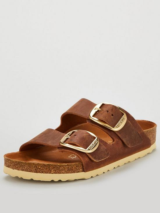 Fit Arizona Flat Sandals Buckle Big Cognac Narrow DH9EYeIW2