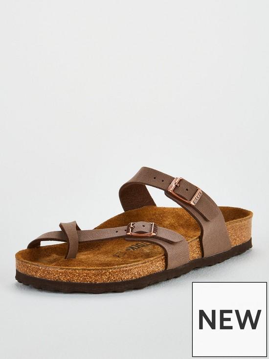 12865f0fe Birkenstock Mayari Crossover Thong Strap Flat Sandal Shoes - Mocha ...