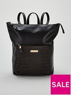 carvela-calypso-zip-top-animal-print-square-backpack-black