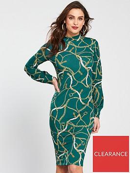 v-by-very-chain-print-turtle-neck-dress-printnbsp