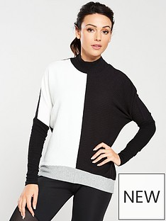 michelle-keegan-colour-block-ribbed-sweat-multi