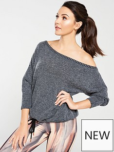 michelle-keegan-off-the-shoulder-textured-jumper-charcoal