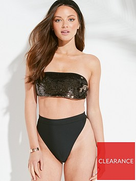 south-beach-reversible-sequin-bandeau-high-waistnbspbikini-set-black