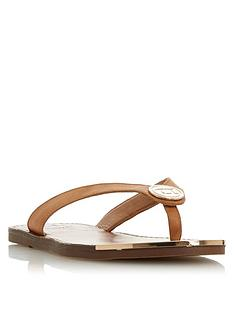 5171163aefa Dune London Lagoons Disc Branded Toe Thong Flip Flops- Tan