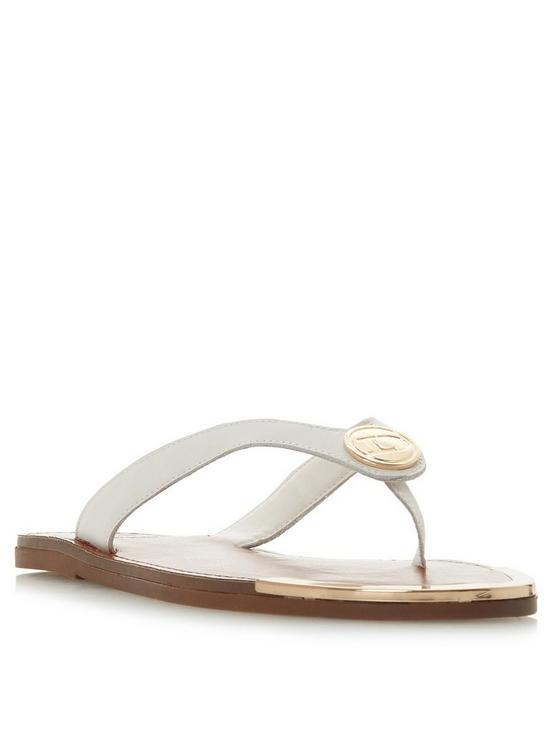 0eb8dfb6553 Dune London Lagoons D Branded Toe Thong Flip Flop - White