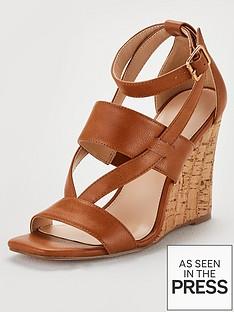a9b44f7b64f7 V by Very Giulia Ankle Strap Cork Wedge Sandal - Tan