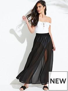 80345bba72 South Beach Double Split Front Beach Maxi Skirt - Black