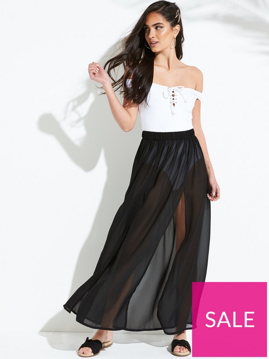 91215c811c South Beach Double Split Front Beach Maxi Skirt - Black | very.co.uk