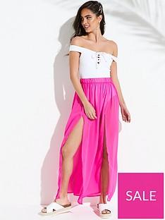 ff3096fb08708 South Beach Double Split Front Maxi Beach Skirt - Pink
