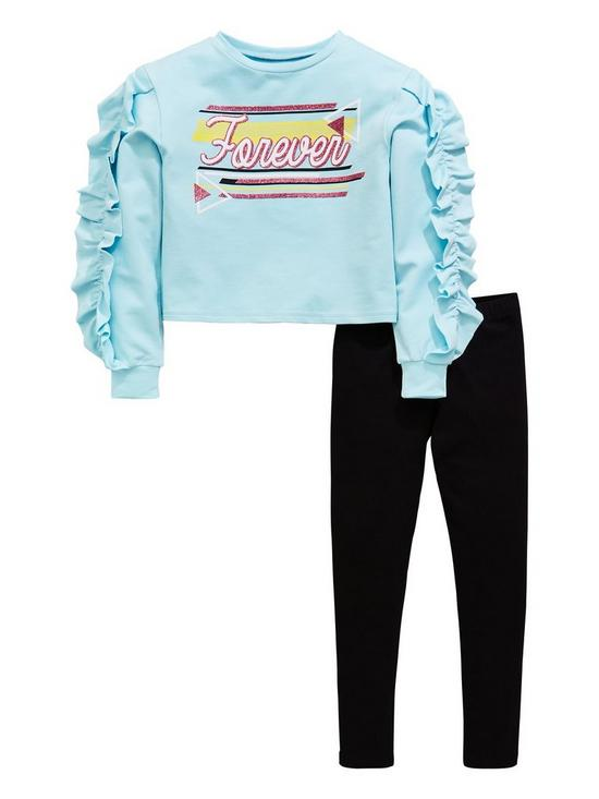 ada162bf7236e V by Very Girls 2 Piece Forever Glitter Ruffle Sweat Top and Leggings Outfit  - Blue