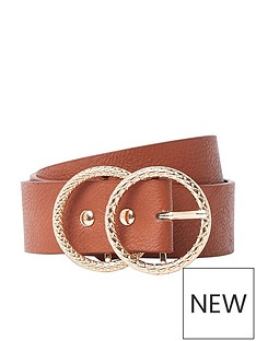 river-island-river-island-textured-double-ring-jeans-belt-brown