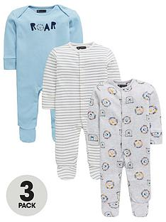 mini-v-by-very-baby-3-pack-safari-brights-sleepsuitsnbsp--multi
