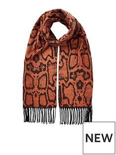 river-island-snake-print-scarf-orange