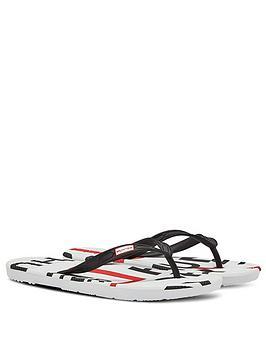 hunter-exploded-logo-flip-flops-whiteblackred