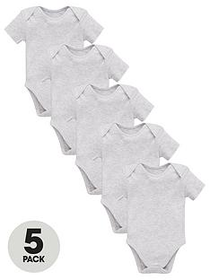 mini-v-by-very-baby-unisex-5-pack-short-sleeve-essential-bodysuits-grey-marl