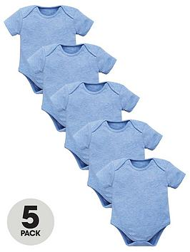 mini-v-by-very-baby-5-pack-essential-blue-marl-bodysuits-blue