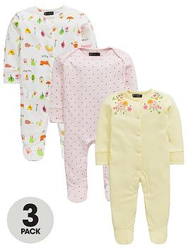 mini-v-by-very-baby-3-pack-botanical-garden-sleepsuitsnbsp--multi