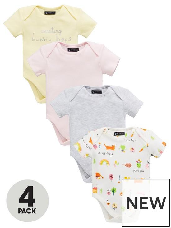 18edc1ab2 Mini V by Very Baby Girls 4 Pack Short Sleeve Botanical Garden Short  Bodysuits - Multi